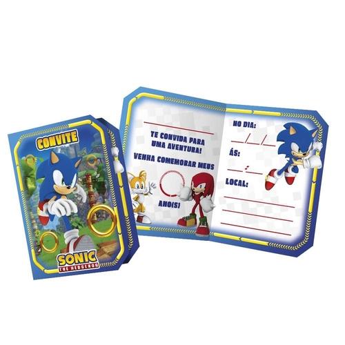 Convite Aniversário Sonic c/8 - Regina