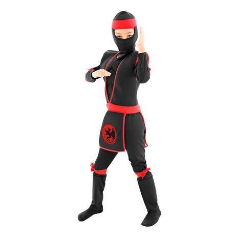 Fantasia Ninja Preto e Vermelho M - Sulamericana