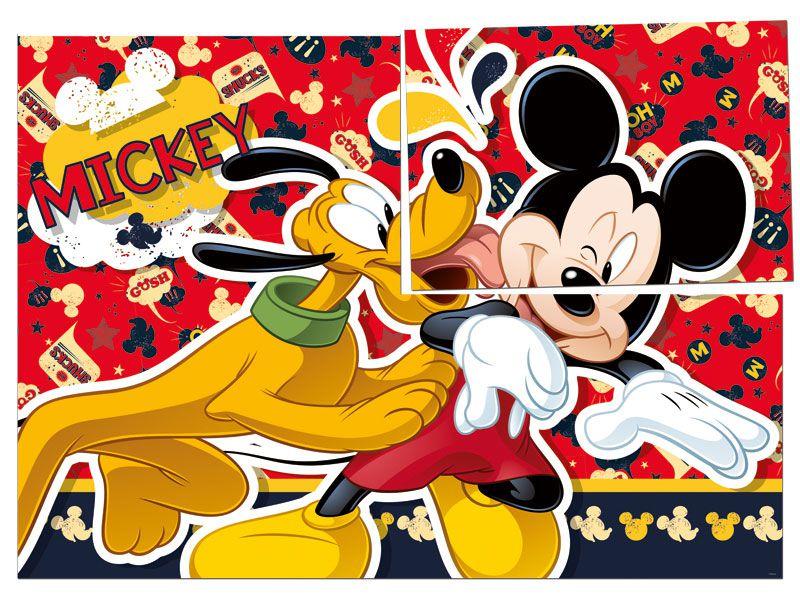 Painel 4 Laminas Decorativo Mickey - Regina