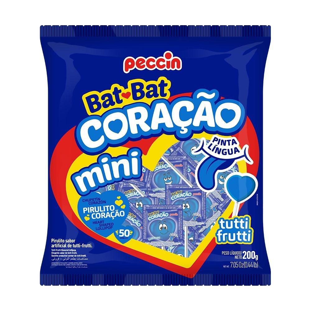 Pirulito Bat Bat Coração Pinta Língua Mini c/50 - Peccin
