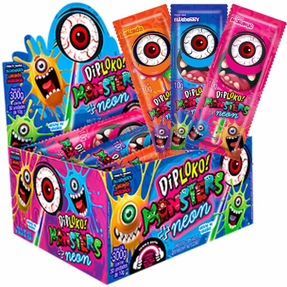 Pirulito Dip Loko Monsters Neon Olho c/30 300g - Danilla