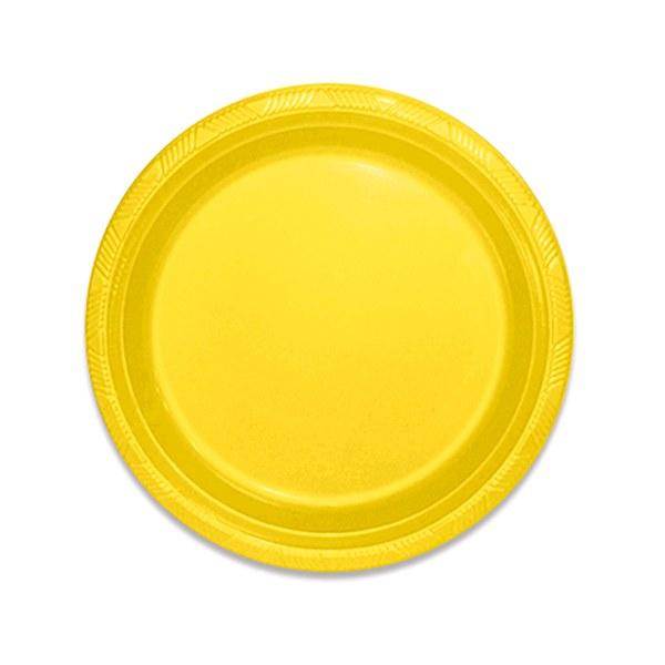 Prato Descartável 18cm Amarelo c/10 - Kaixote