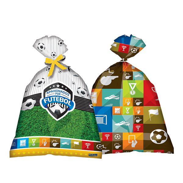 Sacola Plástica Apaixonados Por Futebol c/8 - Festcolor