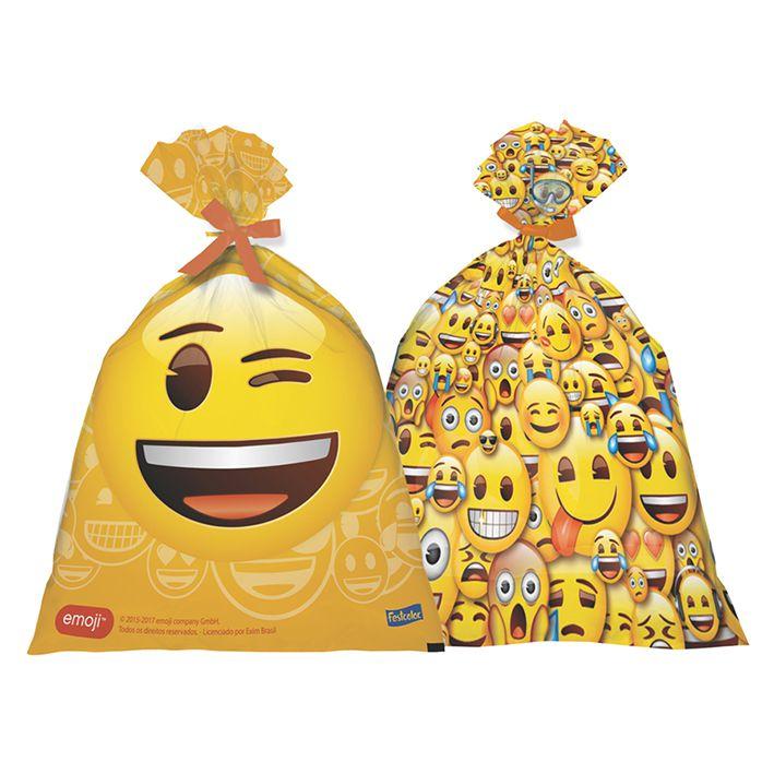 Sacola Plástica Emoji c/8 - Festcolor