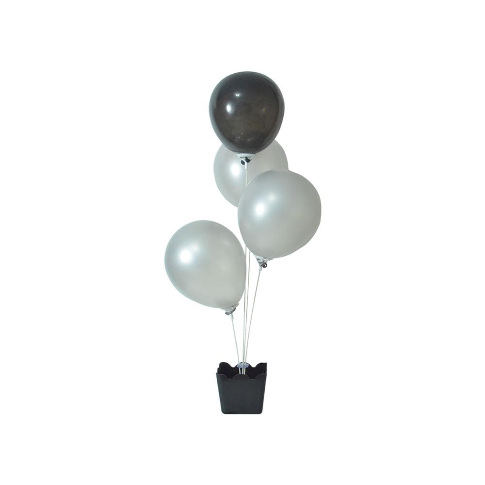 Suporte para Balão Cachepot c/4 Hastes Preto - Nissi Plás