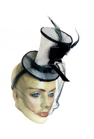 Tiara Cartola c/Tule Halloween Prata Glitter - YDH