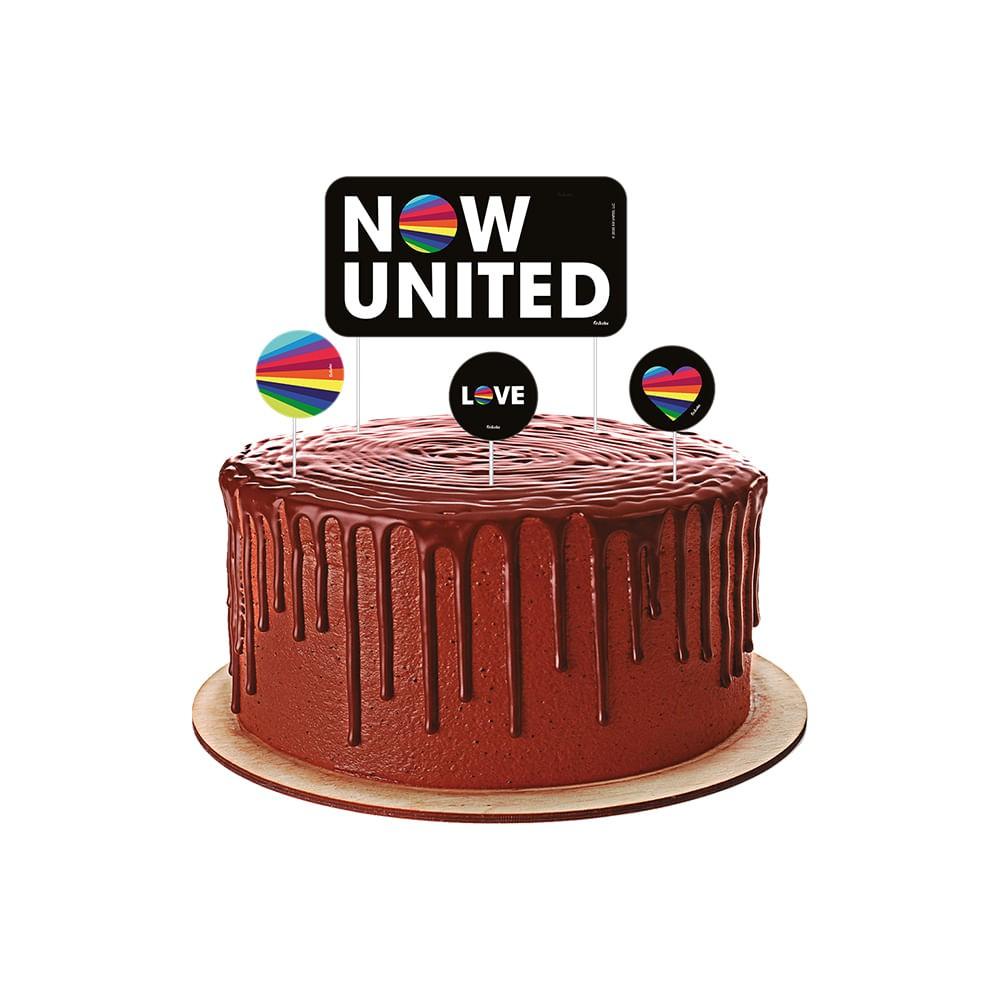 Topper Para Bolo Now United c/4 - Festcolor