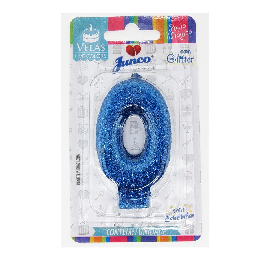 Vela de Aniversário com Glitter Azul - Junco