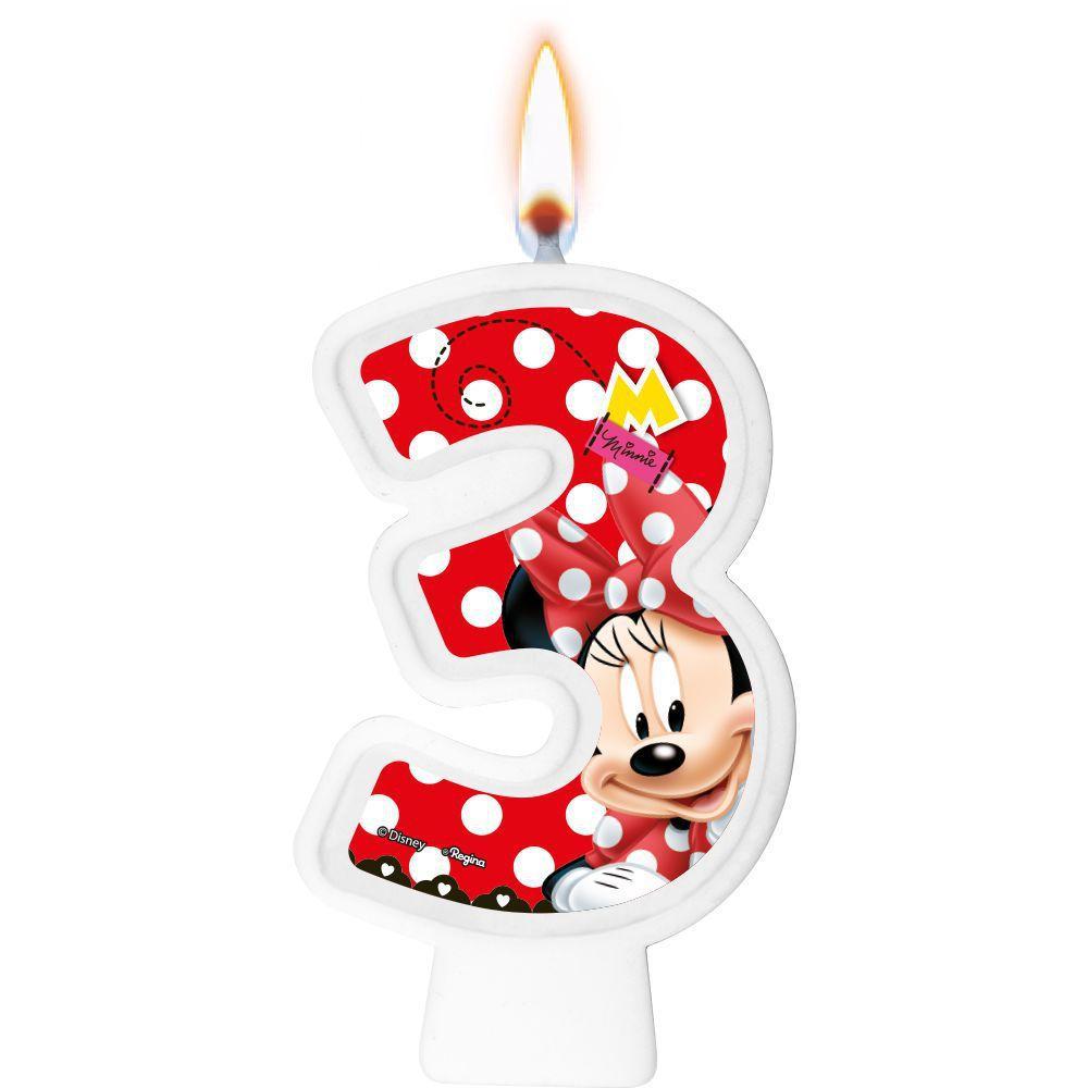 Vela Numeral Minnie Número 3 - Regina