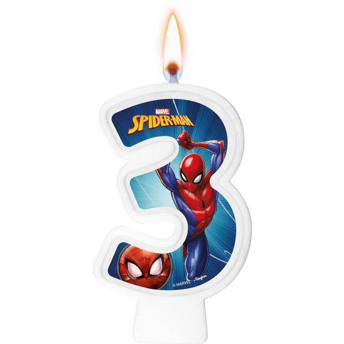 Vela Numeral Spider Man Número 3 - Regina