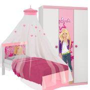 Cama com Dossel de Teto e Guarda Roupa Infantil Barbie Happy - Pura Magia