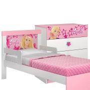 Cama com Proteção Lateral e Cômoda Infantil Barbie Happy - Pura Magia