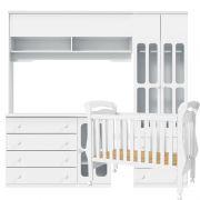 Quarto de Bebê Modulado Delicato 3 Portas Branco Brilho - Matic