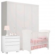 Quarto de Bebê Amore Branca Brilho - Qmovi