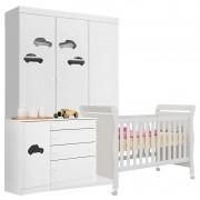 Quarto de Bebê Carrinho Colonial Amore Baby Branca Brilho - Qmovi
