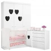 Quarto de Bebê Coração Amore Branca Brilho - Qmovi