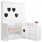 Quarto de Bebê Coração Colonial Amore Baby Branca Brilho - Qmovi