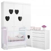 Quarto de Bebê Coração Colonial Amore Branca Brilho - Qmovi