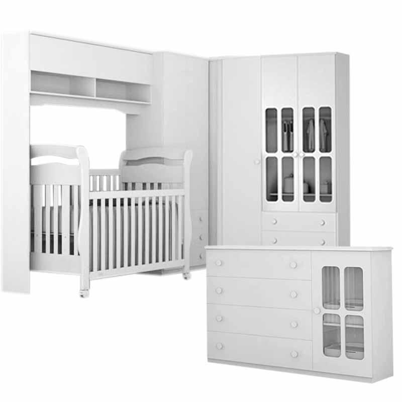 Quarto de Bebê Modulado Delicato 5 Portas Branco Brilho ~ Quarto Pequeno Modulado
