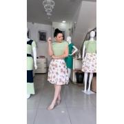 Conjunto blusa e saia viscolinho