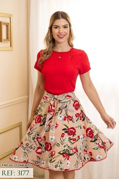 Conjunto blusa crepe saia alfaiataria new look