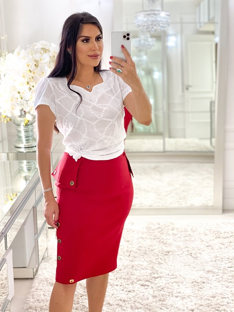 Conjunto blusa lese saia bengaline