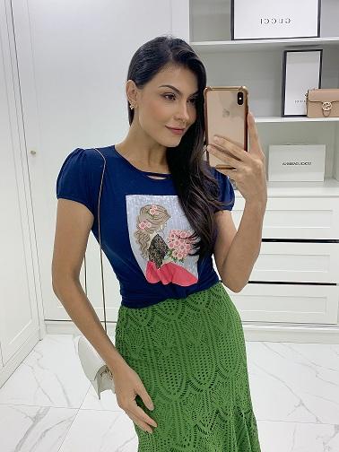 Conjunto t-shirt viscolycra saia malha lese