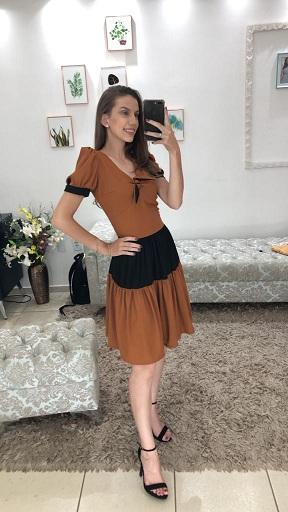 Vestido malha canelada duas cores