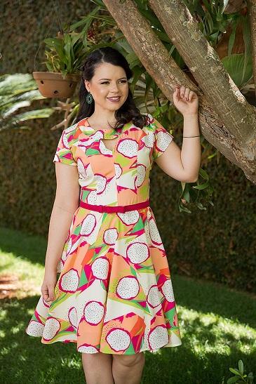 Vestido malibu printed detalhe cinto