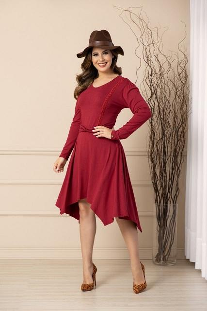 Vestido visco fashion detalhe guipir