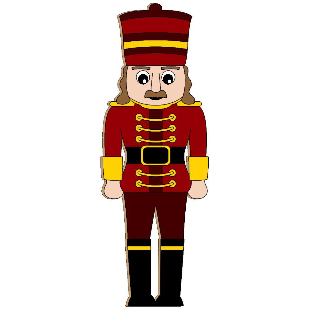 028-MD - Decoração Color Mdf Soldado de Chumbo Gigante - Tam. 1,80 x 0,50 Metros - Vermelho