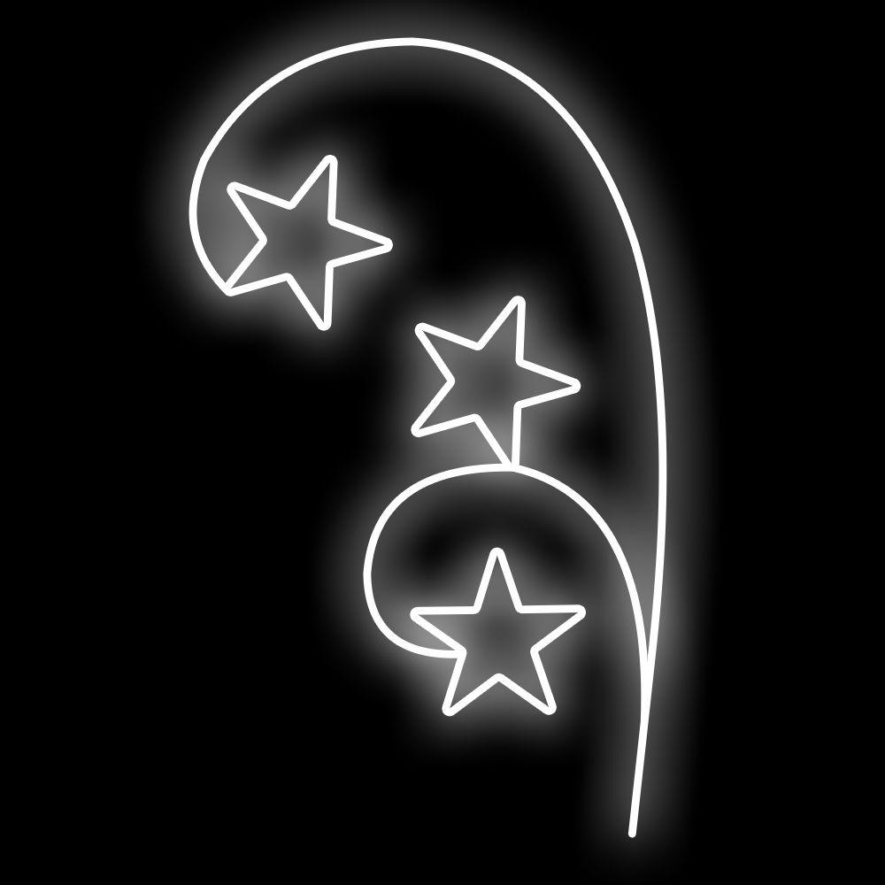 FI-156 - Ornato Arco com 3 Estrelas Iluminado - Tam 1,80 x 1,06 metros