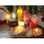 Presépio de Natal completo Iluminado - 10 PEÇAS - INDUSPAR
