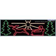 Ref: 276 - Decoração Metálica Iluminada Led - Painel Passeio do Noel - MED 1,00 X 4,00 MTS
