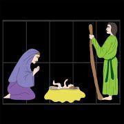 434 - Painel de Natal - Sagrada Familia Decoração de Natal Dia e Noite - Tam 2,40 x 1,70 mts