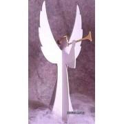 Anjo 3D Gigante com Trompete 2,60 x 1,70 metros Branco e Dourado Decoração de Natal Dia e Noite - DF-107-DN