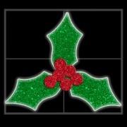 Painel de Natal PN-005-DN Iluminado Led - Azevinho Folhas