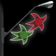 BP053 - Decoração Poste Estrelas Curvas Coloridas - MED 1,00 X 0,60 Metros Decoração Dia e Noite