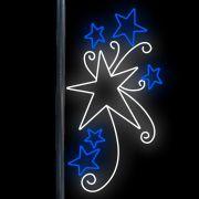 FI-102 - Decoração Poste Estrelas Starburst  Vermelha com Led Branco Frio e Flash - MED 2,00 X 1,03 Mts