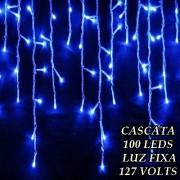 Cascata Azul 100 LEDs Luz Fixa - 3 metros - Fio Azul