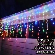 Cascata Colorida 100 LEDs com 8 Funções - 3 metros - Fio Transparente