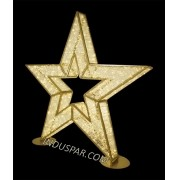030-FA - Estrela 5 Pontas 2,20 Mts Gigante 3D Glamour ES-302 - Dourada