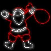 FI-003 - Papai Noel com Saco Presentes Metálico Iluminado Led - Med 1,50 x 1,40 mts