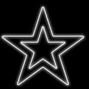 FI-026 - Estrela 5 Pontas Dupla Metálica Iluminada Led - MED 1,00 X 1,00 Mt.