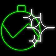 FA142 - Decoração Metálica Iluminada Led - Bola de Natal com Estrelitas - Med 0,95 x 1,10 mts