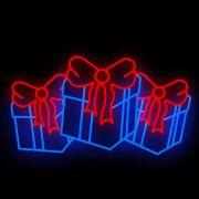 FA153 - Decoração Metálica Iluminada Led - Caixa de presentes - MED 1,30 x 2,28 mts