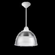 L03- Luminária Pendente Cone Prismática 12 Pol Cristal - Acabamentos Branco - E40
