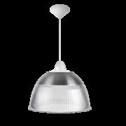 L03- Luminária Pendente Cone Prismática 16 Pol Cristal - Acabamentos Branco - E40