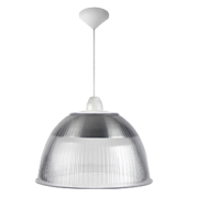 L03- Luminária Pendente Cone Prismática 22 Pol Cristal - Acabamentos Branco - E40