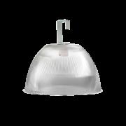 L05- Luminária Prismática 12 Pol Prato e Gancho Difusor Cristal